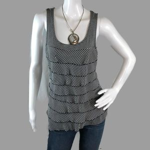 WHBM Size SMALL Ruffled Stripped Tank Top